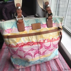 Coach Multi Colored Fabric & Brown Leather Purse